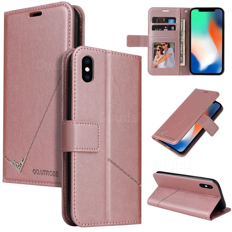 GQ.UTROBE Right Angle Silver Pendant Leather Wallet Phone Case for iPhone XS / iPhone X(5.8 inch) - Rose Gold