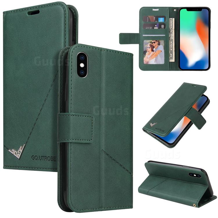 GQ.UTROBE Right Angle Silver Pendant Leather Wallet Phone Case for iPhone XS / iPhone X(5.8 inch) - Green