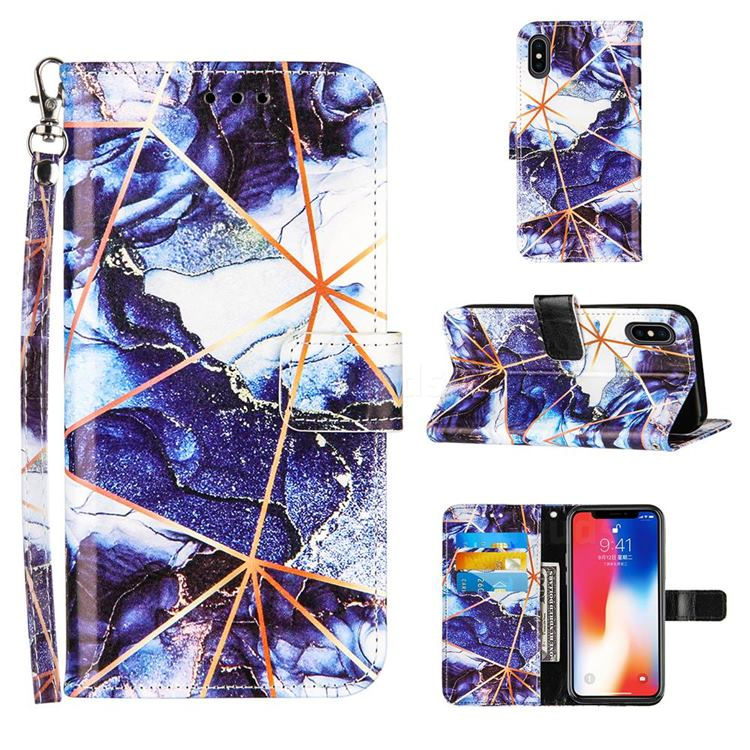 Starry Blue Stitching Color Marble Leather Wallet Case for iPhone XS / iPhone X(5.8 inch)