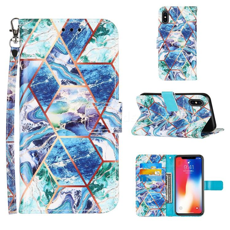 Green and Blue Stitching Color Marble Leather Wallet Case for iPhone XS / iPhone X(5.8 inch)
