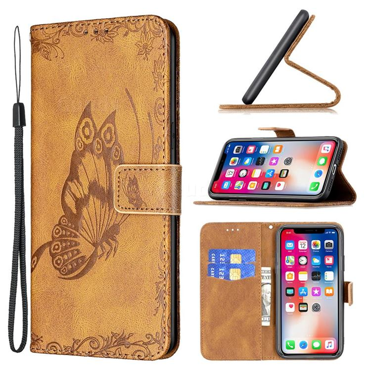 Binfen Color Imprint Vivid Butterfly Leather Wallet Case for iPhone XS / iPhone X(5.8 inch) - Brown