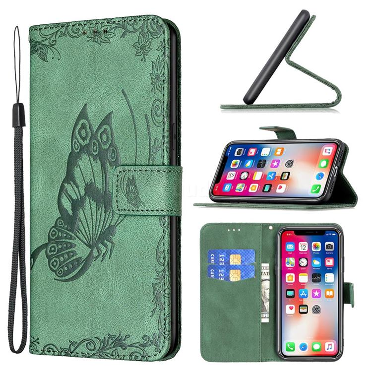 Binfen Color Imprint Vivid Butterfly Leather Wallet Case for iPhone XS / iPhone X(5.8 inch) - Green