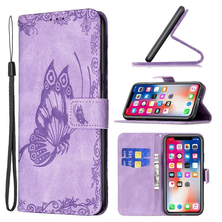 Binfen Color Imprint Vivid Butterfly Leather Wallet Case for iPhone XS / iPhone X(5.8 inch) - Purple