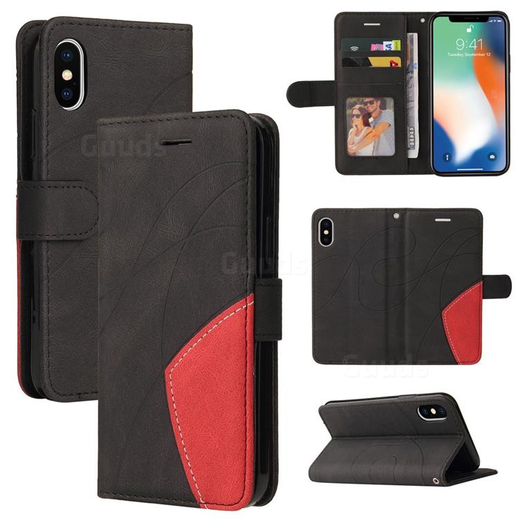 Luxury Two-color Stitching Leather Wallet Case Cover for iPhone XS / iPhone X(5.8 inch) - Black
