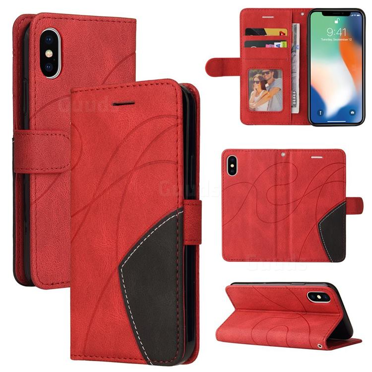 Luxury Two-color Stitching Leather Wallet Case Cover for iPhone XS / iPhone X(5.8 inch) - Red