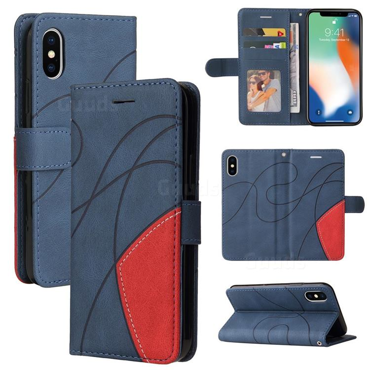 Luxury Two-color Stitching Leather Wallet Case Cover for iPhone XS / iPhone X(5.8 inch) - Blue
