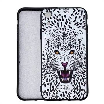 Snow Leopard 3D Embossed Relief Black Soft Back Cover for iPhone Xr (6.1 inch)