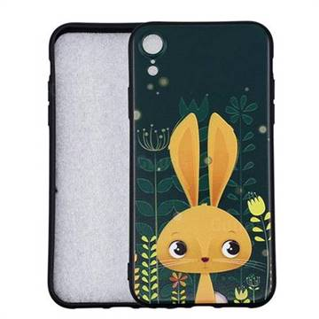 Cute Rabbit 3D Embossed Relief Black Soft Back Cover for iPhone Xr (6.1 inch)