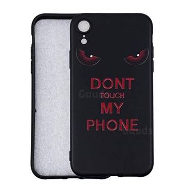Red Eyes 3D Embossed Relief Black Soft Back Cover for iPhone Xr (6.1 inch)