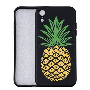 Big Pineapple 3D Embossed Relief Black Soft Back Cover for iPhone 9 (6.1 inch)