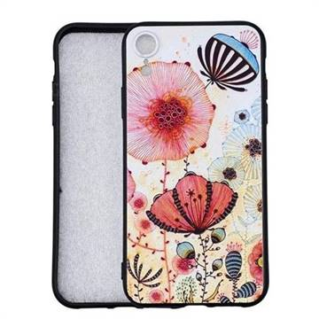 Pink Flower 3D Embossed Relief Black Soft Back Cover for iPhone 9 (6.1 inch)