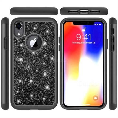 Glitter Rhinestone Bling Shock Absorbing Hybrid Defender Rugged Phone Case Cover for iPhone Xr (6.1 inch) - Black