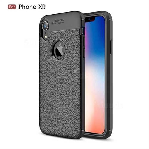 Luxury Auto Focus Litchi Texture Silicone TPU Back Cover for iPhone Xr (6.1 inch) - Black