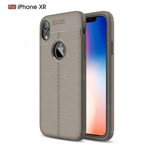 timeless design ca226 a90b6 Luxury Auto Focus Litchi Texture Silicone TPU Back Cover for iPhone Xr (6.1  inch) - Gray