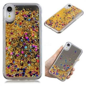 Glitter Sand Mirror Quicksand Dynamic Liquid Star TPU Case for iPhone Xr  (6.1 inch) , Yellow