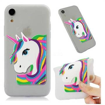 Rainbow Unicorn Soft 3D Silicone Case for iPhone Xr (6.1 inch) - Translucent White