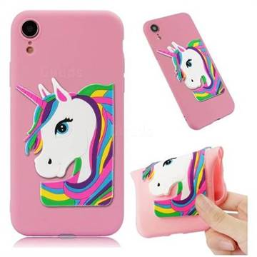 Rainbow Unicorn Soft 3D Silicone Case for iPhone Xr (6.1 inch) - Pink