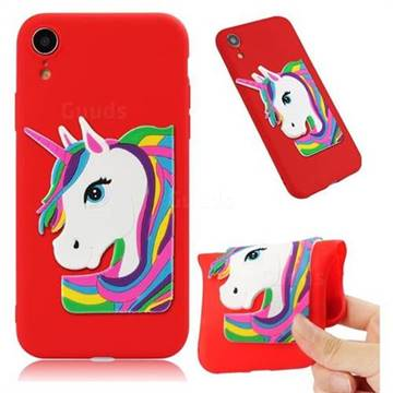 Rainbow Unicorn Soft 3D Silicone Case for iPhone Xr (6.1 inch) - Red
