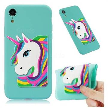 Rainbow Unicorn Soft 3D Silicone Case for iPhone Xr (6.1 inch) - Sky Blue
