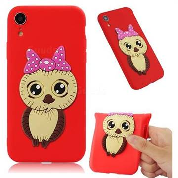 Bowknot Girl Owl Soft 3D Silicone Case for iPhone Xr (6.1 inch) - Red