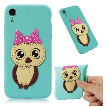 Bowknot Girl Owl Soft 3D Silicone Case for iPhone Xr (6.1 inch) - Sky Blue