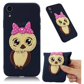 Bowknot Girl Owl Soft 3D Silicone Case for iPhone Xr (6.1 inch) - Navy