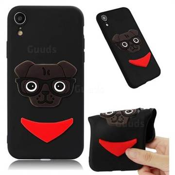 Glasses Dog Soft 3D Silicone Case for iPhone Xr (6.1 inch) - Black