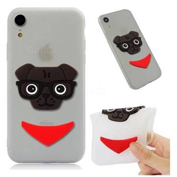 Glasses Dog Soft 3D Silicone Case for iPhone Xr (6.1 inch) - Translucent White