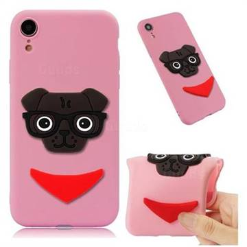 Glasses Dog Soft 3D Silicone Case for iPhone Xr (6.1 inch) - Pink