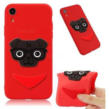 Glasses Dog Soft 3D Silicone Case for iPhone Xr (6.1 inch) - Red