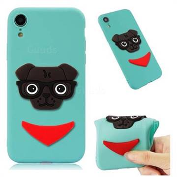 Glasses Dog Soft 3D Silicone Case for iPhone Xr (6.1 inch) - Sky Blue