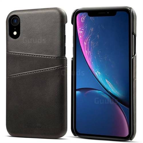 Suteni Retro Classic Card Slots Calf Leather Coated Back Cover for iPhone Xr (6.1 inch) - Black
