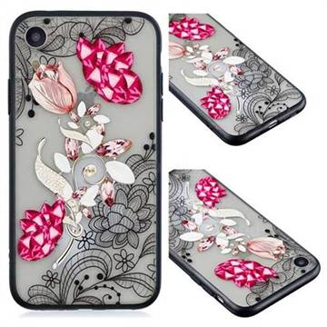 Tulip Lace Diamond Flower Soft TPU Back Cover for iPhone Xr (6.1 inch)