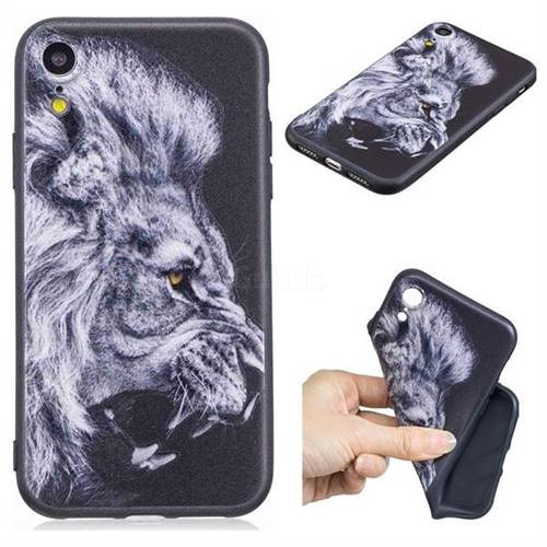 Lion 3D Embossed Relief Black TPU Cell Phone Back Cover for iPhone Xr (6.1 inch)