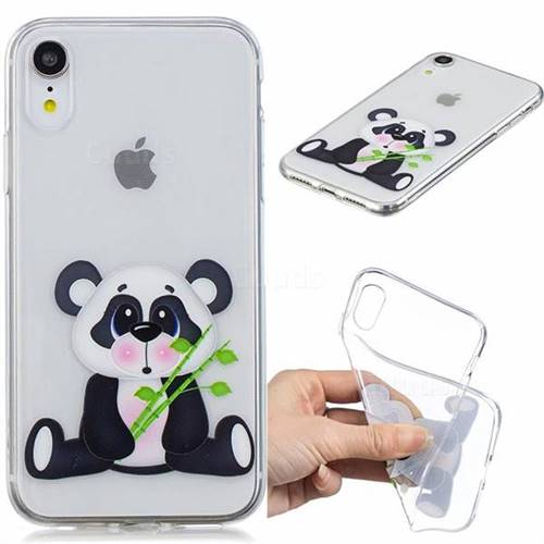 Bamboo Panda Clear Varnish Soft Phone Back Cover for iPhone Xr (6.1 inch)