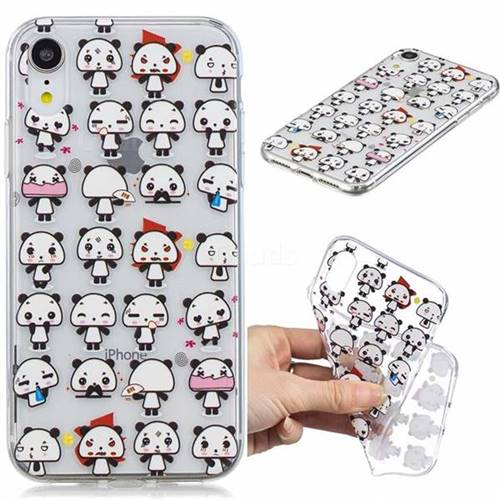 Mini Panda Clear Varnish Soft Phone Back Cover for iPhone Xr (6.1 inch)