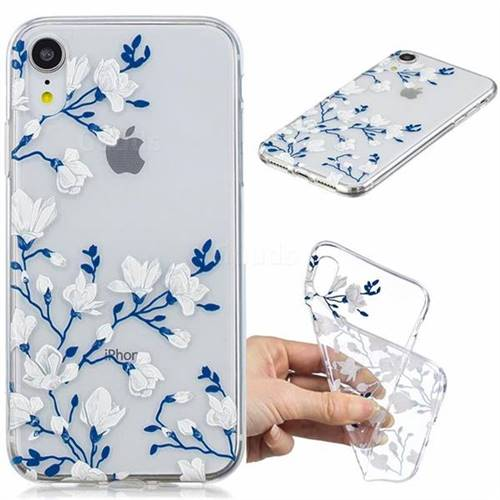 Magnolia Flower Clear Varnish Soft Phone Back Cover for iPhone Xr (6.1 inch)
