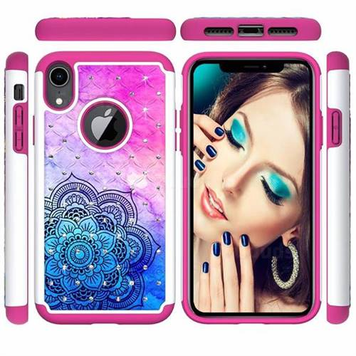 Colored Mandala Studded Rhinestone Bling Diamond Shock Absorbing Hybrid Defender Rugged Phone Case Cover for iPhone Xr (6.1 inch)