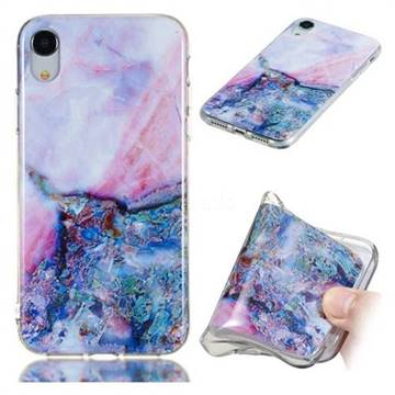 Purple Amber Soft TPU Marble Pattern Phone Case for iPhone Xr (6.1 inch)