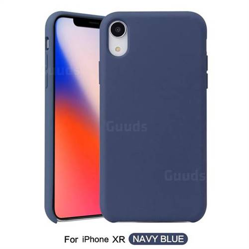 release date f3aa5 45f7a Howmak Slim Liquid Silicone Rubber Shockproof Phone Case Cover for iPhone  Xr (6.1 inch) - Midnight Blue