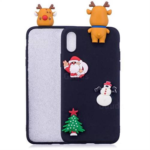 Black Elk Christmas Xmax Soft 3D Silicone Case for iPhone Xr (6.1 inch)