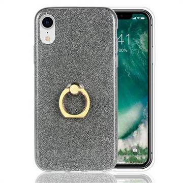 Luxury Soft TPU Glitter Back Ring Cover with 360 Rotate Finger Holder Buckle for iPhone Xr (6.1 inch) - Black