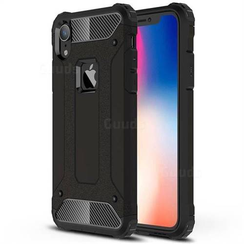 King Kong Armor Premium Shockproof Dual Layer Rugged Hard Cover for iPhone Xr (6.1 inch) - Black Gold