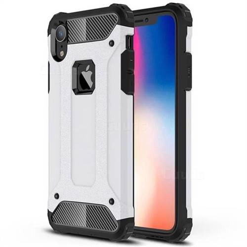 King Kong Armor Premium Shockproof Dual Layer Rugged Hard Cover for iPhone Xr (6.1 inch) - White
