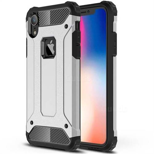 King Kong Armor Premium Shockproof Dual Layer Rugged Hard Cover for iPhone Xr (6.1 inch) - Technology Silver