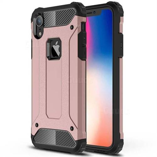 King Kong Armor Premium Shockproof Dual Layer Rugged Hard Cover for iPhone Xr (6.1 inch) - Rose Gold