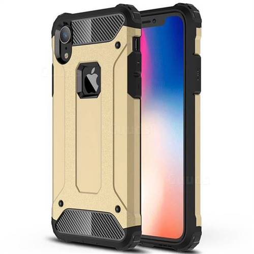 King Kong Armor Premium Shockproof Dual Layer Rugged Hard Cover for iPhone Xr (6.1 inch) - Champagne Gold