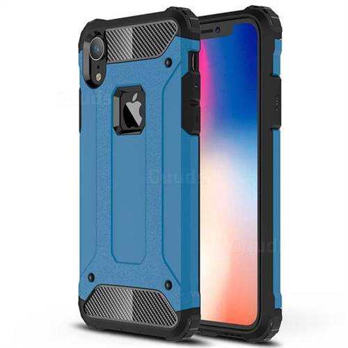 King Kong Armor Premium Shockproof Dual Layer Rugged Hard Cover for iPhone Xr (6.1 inch) - Sky Blue