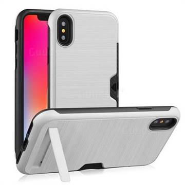 Brushed 2 in 1 TPU + PC Stand Card Slot Phone Case Cover for iPhone Xr (6 1  inch) - Silver