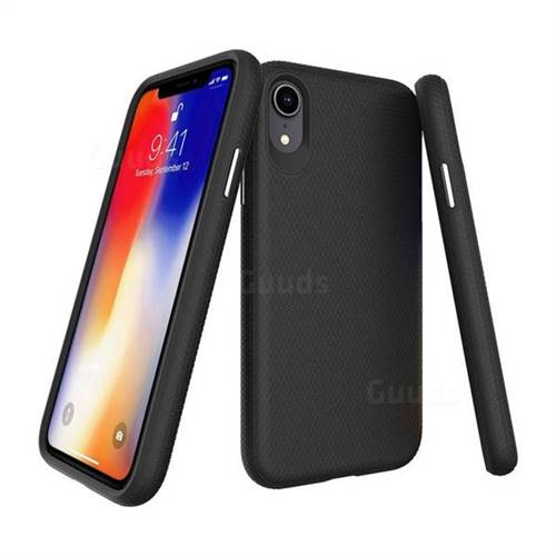 Triangle Texture Shockproof Hybrid Rugged Armor Defender Phone Case for iPhone Xr (6.1 inch) - Black